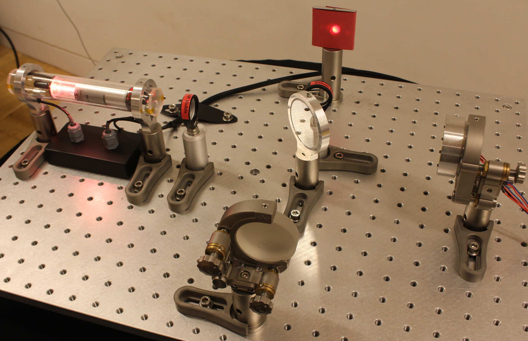 Our own table top laser interferometer at the University of Birmingham. Image credit: Hannah Middleton