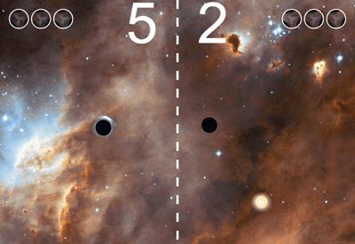 Black Hole Pong game screenshot. Image: http://www.gwoptics.org